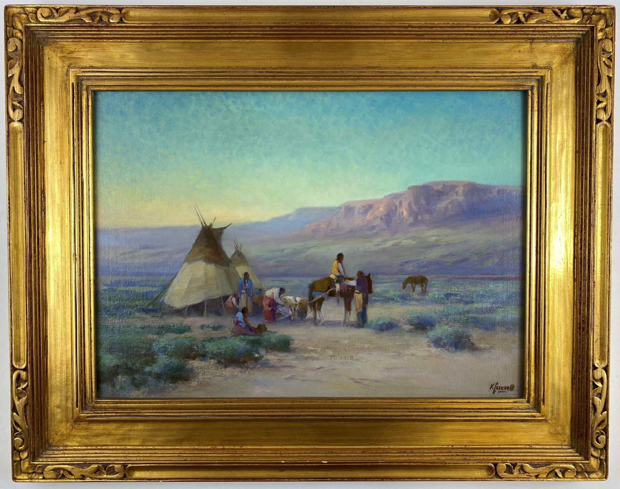 Victor Casenelli (Cincinnati, 1867-1961), Native American Encampment | Sold for $5,400