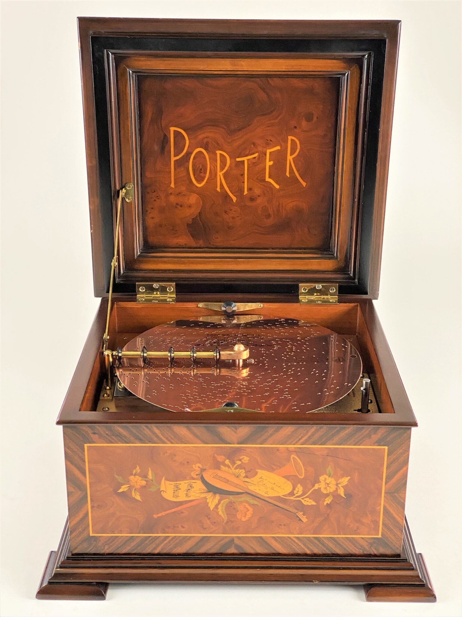 Rare Porter Musix Box in Highly Detailed Inlaid Case, Including Six Disks | Sold for $3,250