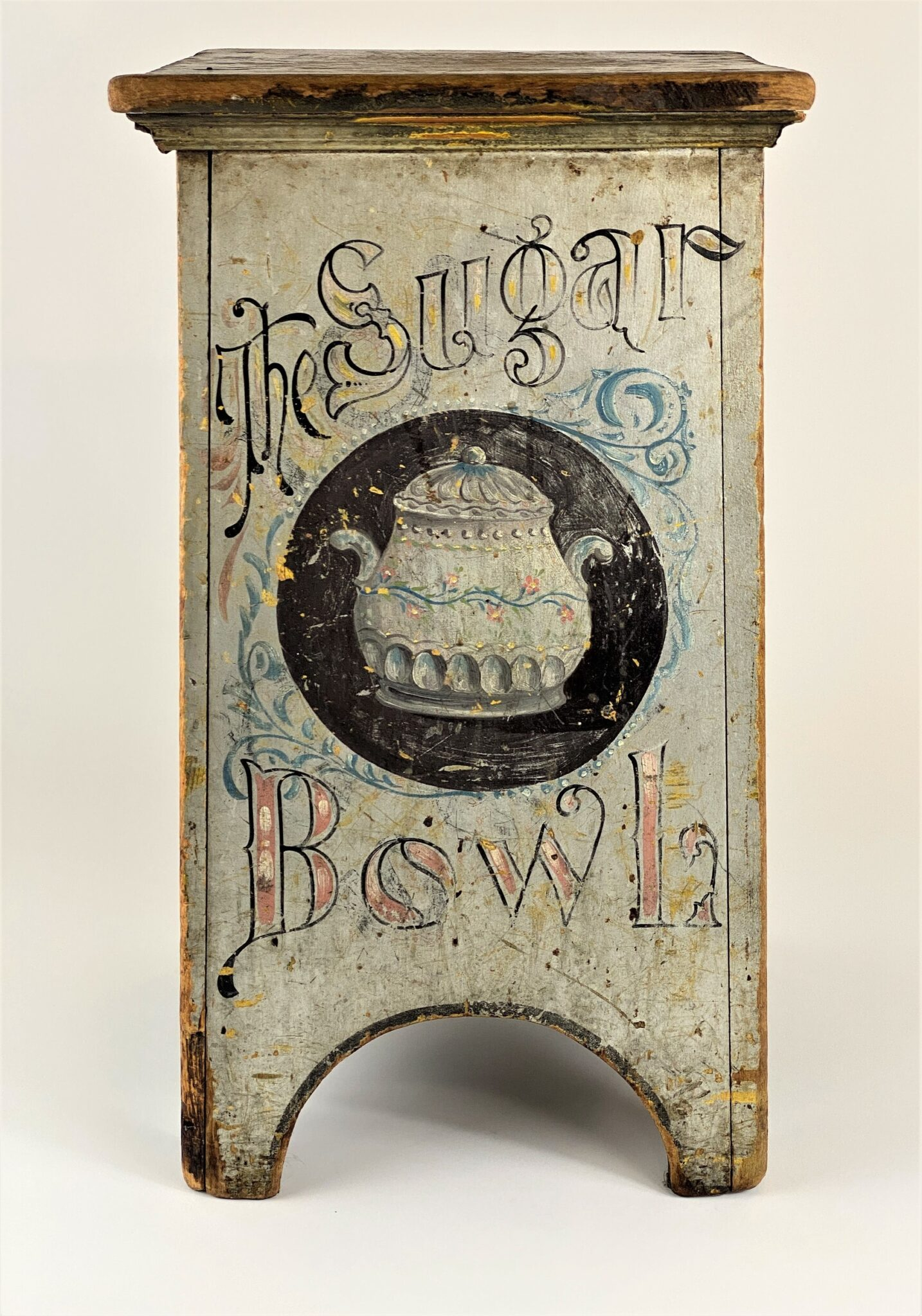 """The Sugar Bowl"" Folk Painted Country Store Stool with Artist's Signature 