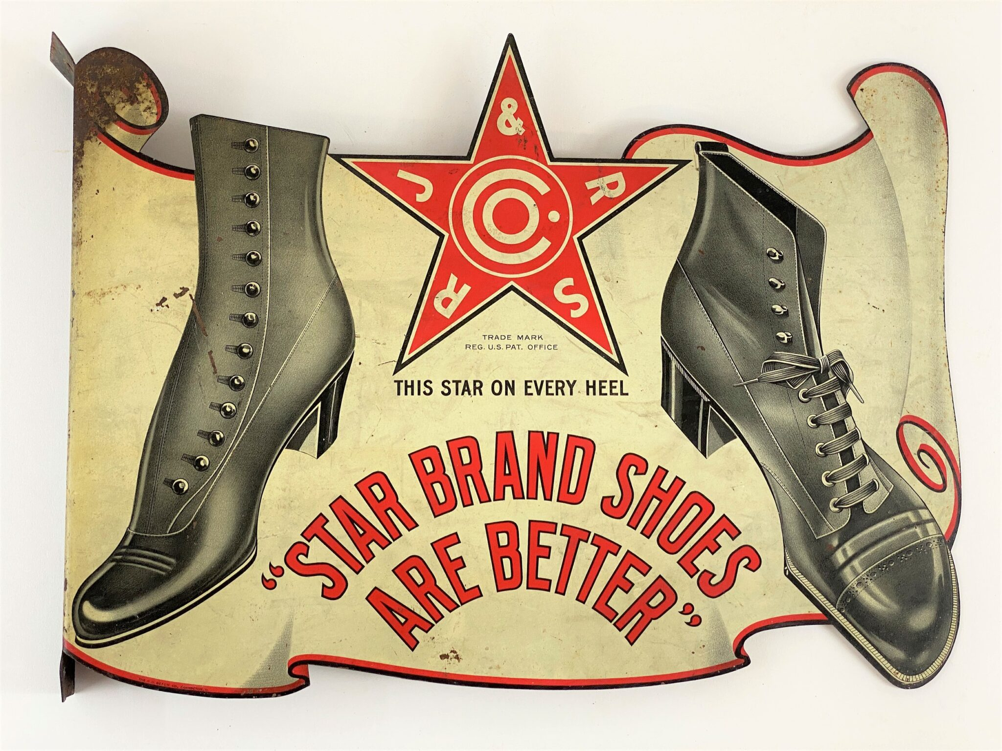 Star Brand Shoes Die Cut Flange Hanging Advertising Sign | Sold for $2,000