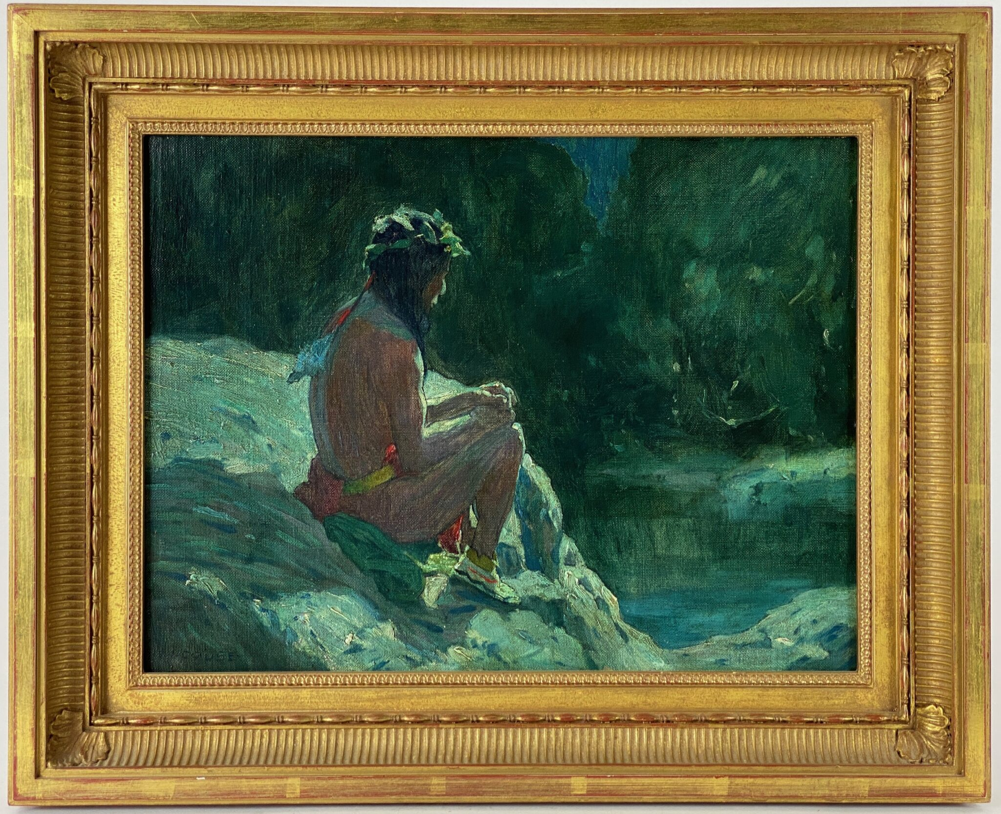 """INDIAN IN MOONLIGHT"" NOCTURNE BY E.I. COUSE 